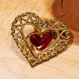 Heart Pendant- Brooch with red heart inside